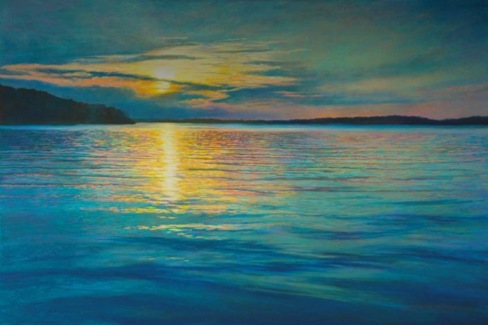 Lakeview Sunset, Pastel Original, Aqua and blue palette