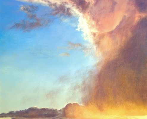 Dynamic vertical cloud formation, brilliant sunset, luminescent, desert foreground