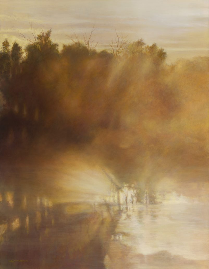 Oil on linen, misty trees, foreground reflections