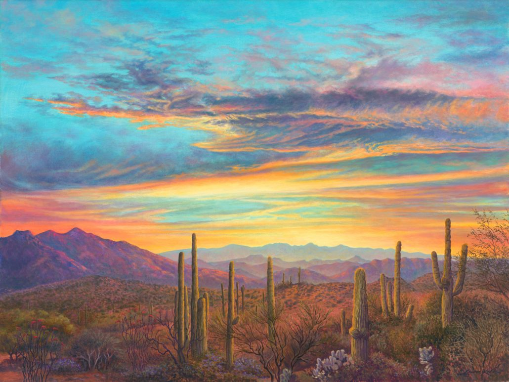 Arizona Sunset with mountain range, Sonoran, desert, landscape with saguaros in foreground, Arizona,