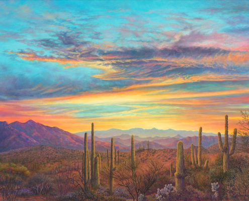 Arizona Sunset with mountain range, Sonoran, desert, landscape with saguaros in foreground, Arizona,