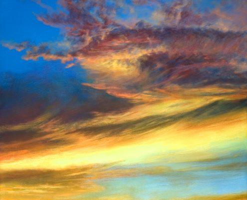Brilliant vertical Southwest sunset, minimal desert foreground