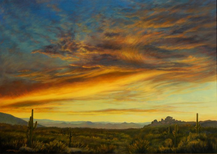 Sunset sky, southwest desert foreground scene, mountains in background, saguaros, rock formations