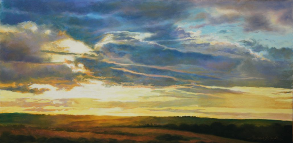 Pastel original, glowing sunset, luminescent, minimal landscape