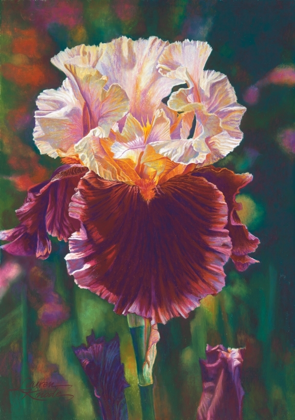 Burgundy Delight, Iris, Burgundy, Pink and green palette, Pastel Painting