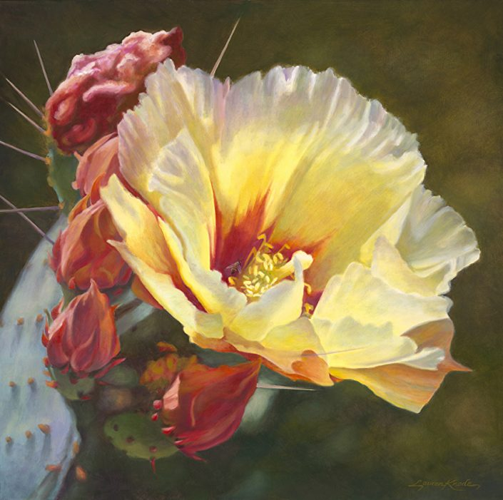 Desert Bloom Radiance, Botanicals, Private Collection, Yellow Prickly Pear Bloom with rose and red buds