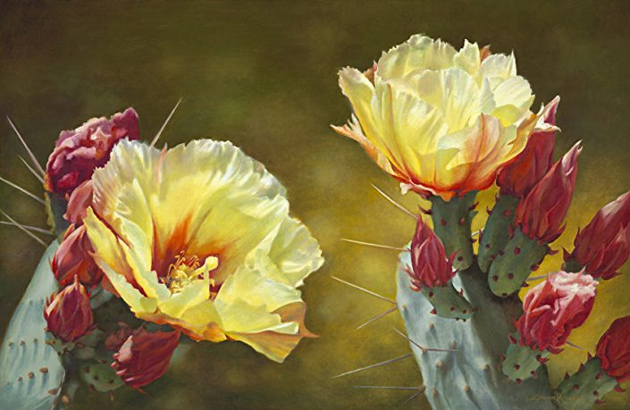 Desert Duet, Botanicals, Yellow Prickly Pear Blooms with rose/red buds, green background