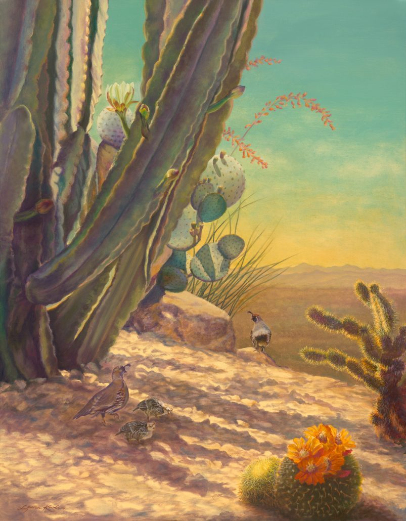 Botanical Paintings, desertscape featuring cacti and family of quail
