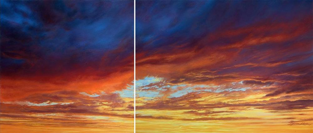 Fire Storm Sky & Landscape Prints, Sunset sky, diptych