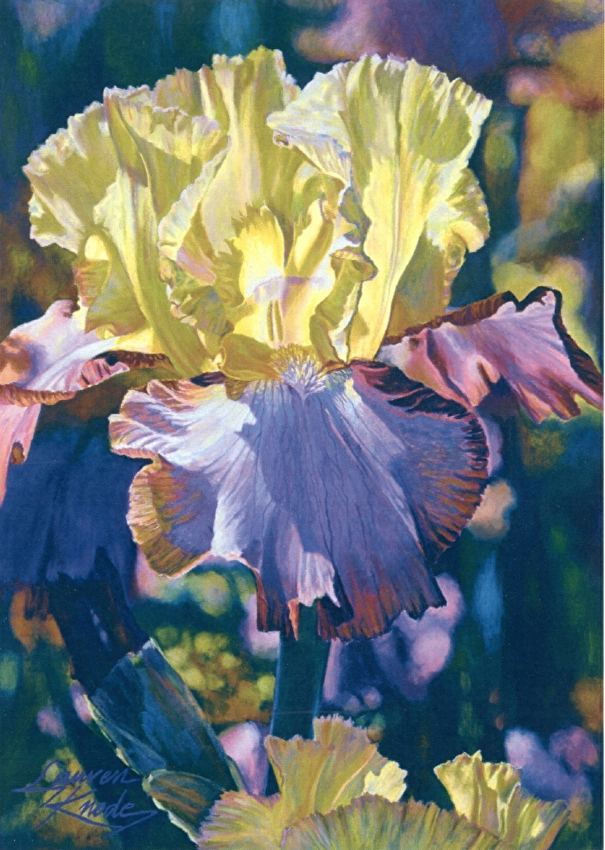 Heaven Sent, Iris, luminescent, Botanicals, yellow, violet, purple palette