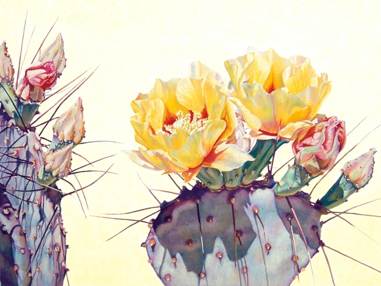 Luminescent Prickly Pear, Yellow Blooms, Prickly Pear Cactus, soft yellow background, purple and yellow predominate palette