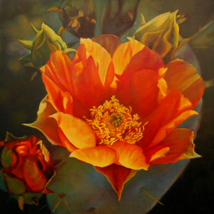 Persimmon Prickly Pear, Botanicals, Orange Prickly Pear Bloom, Orange and green palette, oil painting