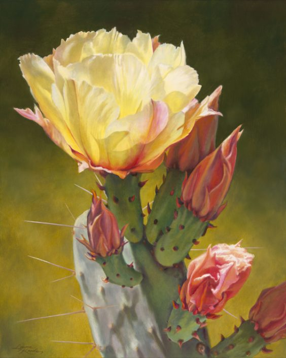 Prickly Pear Luminescence IV, Yellow Prickly Pear Bloom with buds, Green hues in background, botanicals