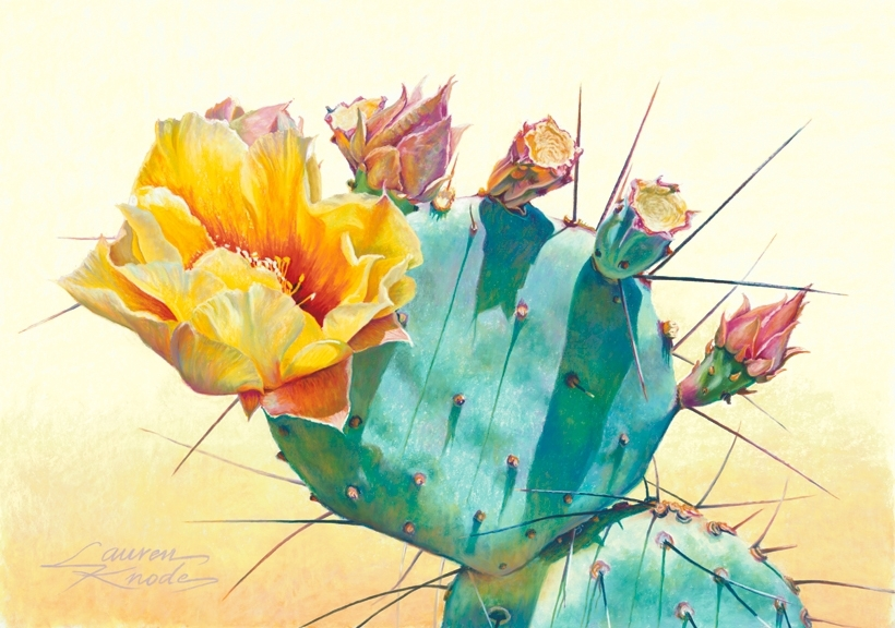 Prickly Pear Shadows, Prickly Pear Cactus with yellow bloom, soft palette, pastel painting, light pink and rose buds