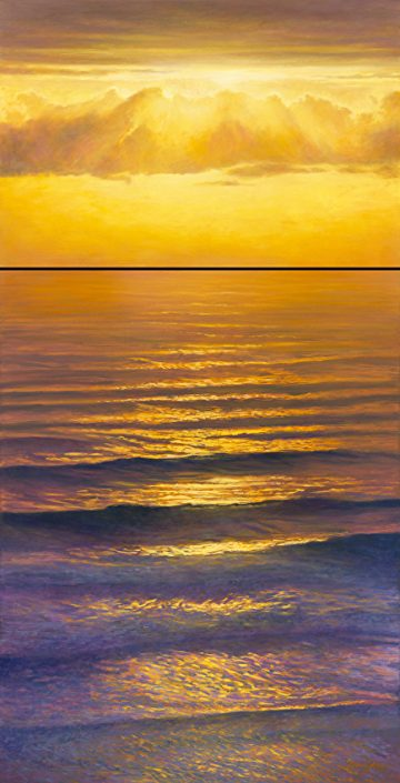 Calming Cadence Waterscape, Ocean scene, brilliant sunset reflections, diptych