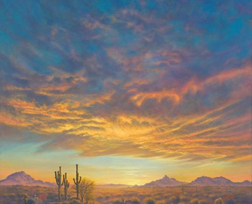 Sonoran Desert Spring, Arizona desert landscape, sunset, saguaros in foreground, Pinnacle Peak and adjoining mountain landscape