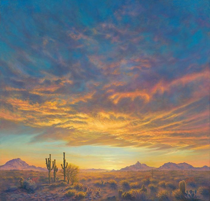 Sonoran Desert Spring, Arizona desert landscape, sunset, saguaros in foreground, Pinnacle Peak and adjoining mountain landscape