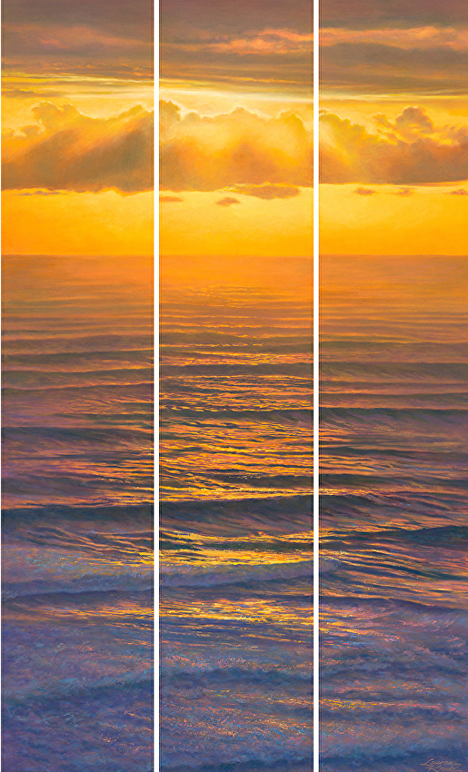 Amber Repose Waterscape, Ocean sunset, reflections, waves, brilliant palette