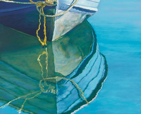 Beckoning Waterscapes Giclee, boat and its reflection, blue and green palette