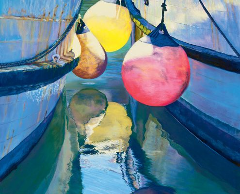 Illuminated Fenders, Waterscapes, Brilliant, colorful fenders featured between fishing boats