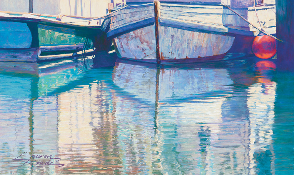 Marine Reflections, old fishing boats, water reflections