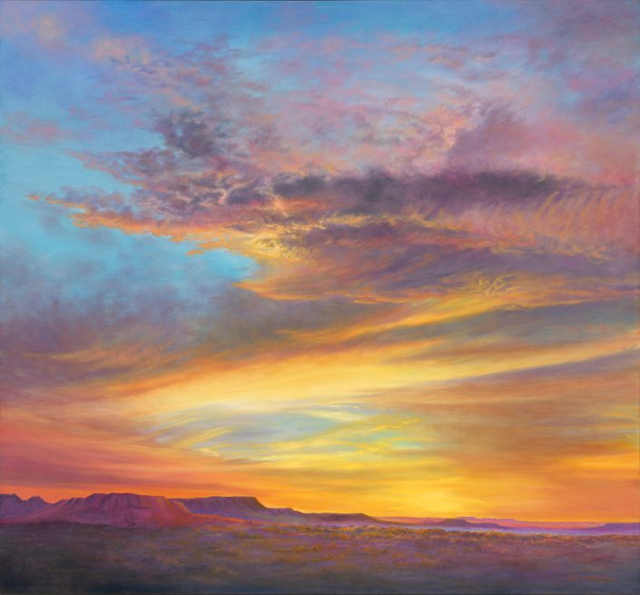 Mesa Splendor Sky & Landscape Print, brilliant sunset, southwest mesas in foreground