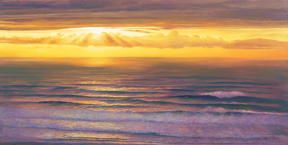 Serenity Beckons Waterscape Giclee, Sunset reflections, ocean waves, brilliant yellow sun at horizon