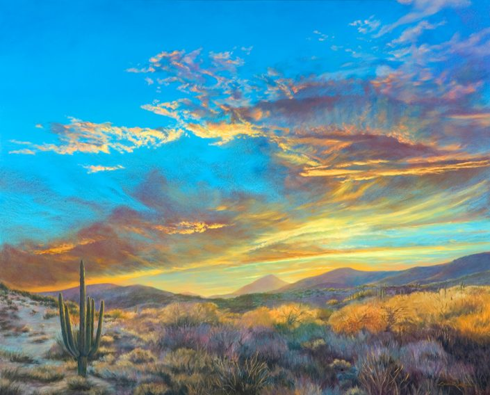 Sunset at Desert Mountain Sky & Landscape Print, brilliant southwest sunset, saguaro in foreground with desert botanicals and mountains