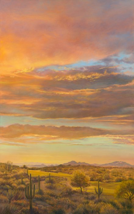 Sunset at Legend Trail Sky & Landscape, brilliant sunset sky, golf course with saguaros in foreground, vertical painting Prints