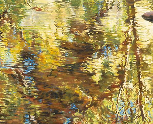 Upon Reflection Waterscapes GicleeUpon Reflection Waterscape, Oak Creek, complex reflections in water with rocks,