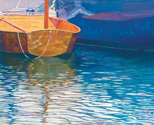 Waiting Waterscapes Giclee, small boat with rope, reflections, close up
